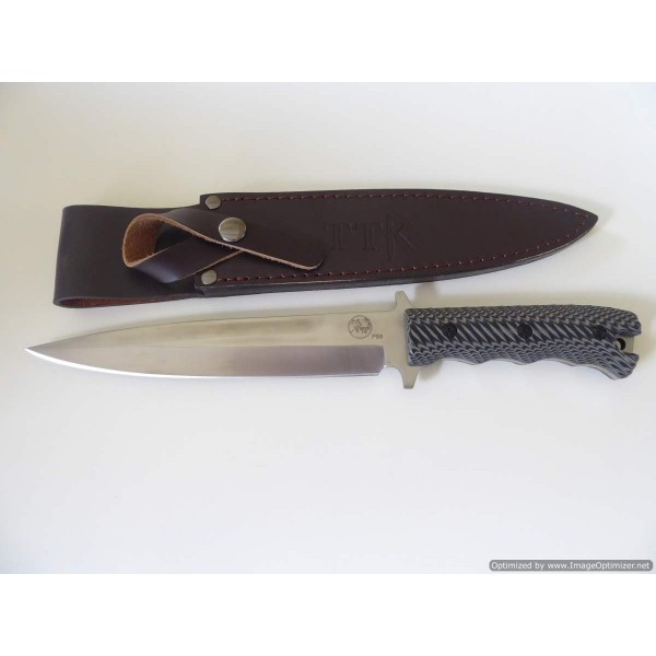 "Tassie Tiger Pig Sticker 8"" Blade G10 Handle with leather sheath"