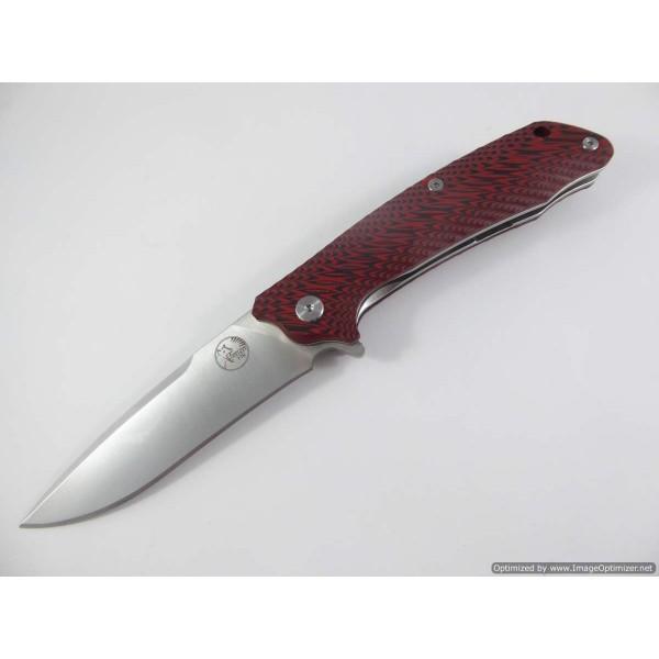 Tassie Tiger Folding Knife, D2 Steel with Red / Black G10 Handle