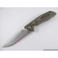 Tassie Tiger Folding Knife, D2 Steel with Green / Tan G10 Handle